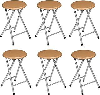comprar comparacion La Silla Española Santiago Pack de Taburetes Plegables Terminado, Aluminio, Marrón, 30x30x45 cm, 6 Unidades