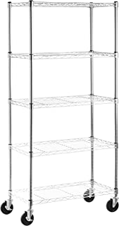 AmazonBasics 5-Shelf Shelving Storage Unit on 4'' Wheel Casters, Metal..