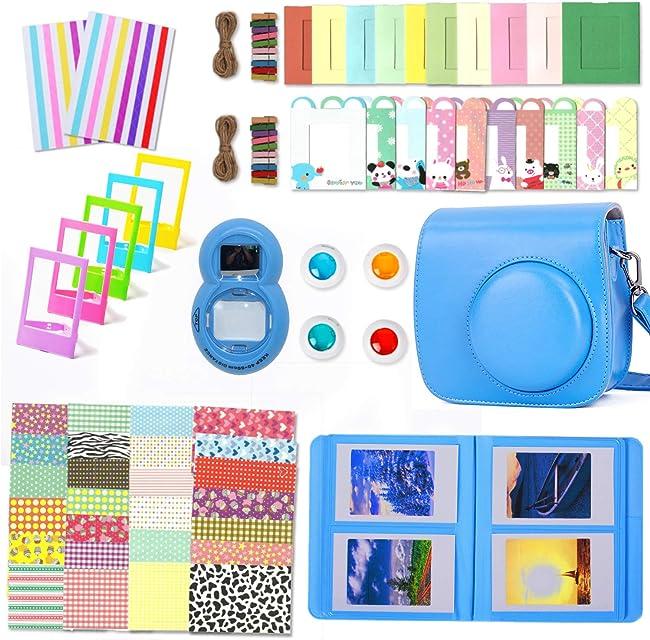 Leebotree Paquete de Accesorios para cámara Fujifilm Instax Mini 9 Incluye: Caso/Album/Lente para Autoretrato/Filtros/Marcos para fotos/Marcos de Películas/Bordes/Pegatinas (Azul Cobalto)