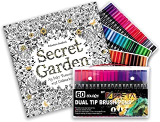 Fronted Pack of 60 Unique Color Markers with Secret Garden An Inky Treasure Hunt Coloring book 96 Pages Dual Tip Art Marke...