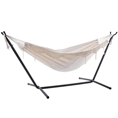 Vivere Double Hammock with Space Saving Steel Stand, Natural (450 lb Capacity - Premium Carry Bag Included)