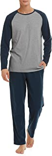 David Archy Men's Cotton Raglan Sleepwear Top & Bottom Pajama Lounge Set