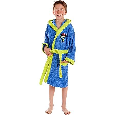 Stilia, accappatoio da doccia, vestaglia da bagno ricamata, in cotone 100%, Cappi (bambini da 6 a 8 anni), multicolore