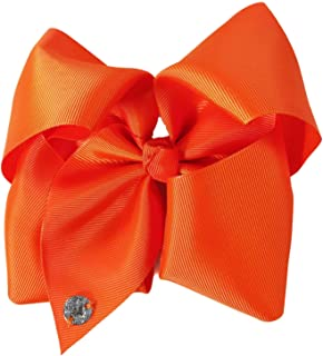 JOJO Siwa Tangerine Orange Bow, 8 Inch Wide Metal Salon Boutique Clip Barrette Cheer Ribbon Layered Fabric Handmade Bows Easy to Wear Clips with Signature Pin Beauty & Personal Care Hair Accessories