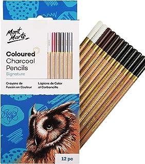 MONT MARTE Coloured Charcoal Pencils Set - 12pce, Drawing charcoal in colour - drawing pens, artist pens, ideal for impres...