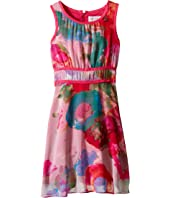 Us Angels - Floral Chiffon Sleeveless Dress w/ Double Stripe Waist & Full Skirt (Big Kids)