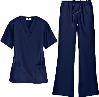 Women's Scrub Set – Includes Medical Uniform V-Neck Top and Pant (XS-3X, 7 Colors)