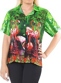 LA LEELA Women's Tropical Hawaiian Shirt Regular Fit Short Sleeve 3D Printed