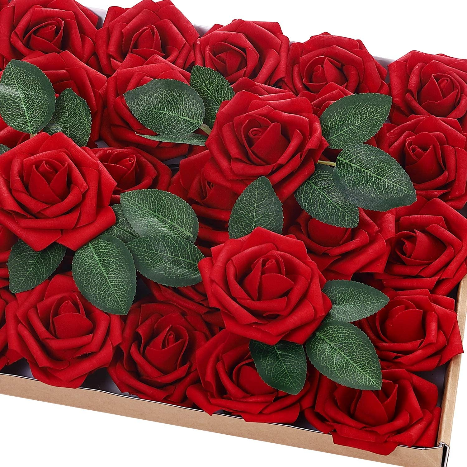 72Pcs Artificial Rose Flowers High quality Rapid rise with 20 Leaves Stem Re Decorative