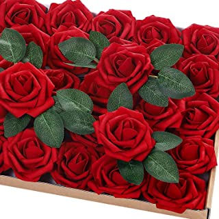 Jastella 72Pcs Artificial Rose Flowers with Stem 20 Decorative Leaves, Real Looking Foam Fake Roses for DIY Wedding Bouquets Centerpieces Party Home Decor (05# Dark Red)