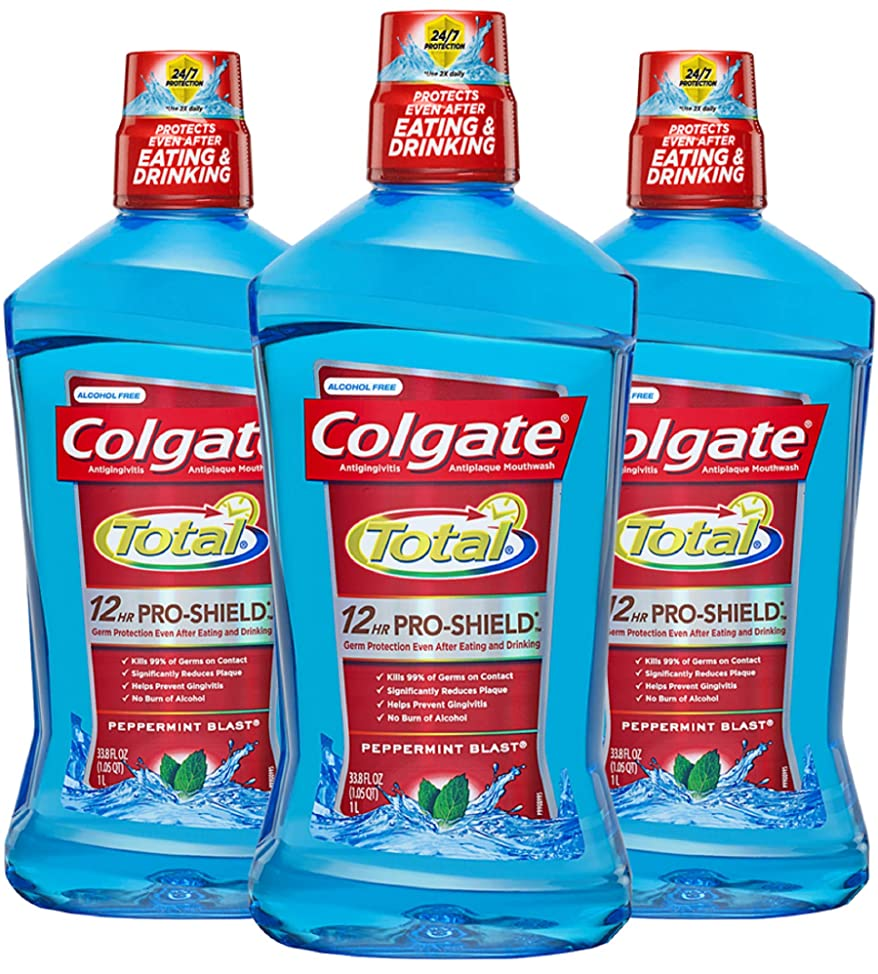 Colgate Total Pro-Shield Mouthwash, Peppermint, 33.8 Fl Oz, Pack of 3