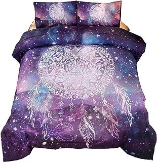 Meeting Story 3Pcs Galaxy Dream Catcher Mandala Bohemian Quilt Bedding Comforter Set (Galaxy-Purple, Queen)