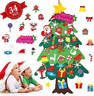 Árbol de Navidad de Fieltro, Árbol Navidad Fieltro Pared con 34 Ornamentos Desmontables El árbol de Navidad de 3.7ft para ...