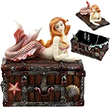 Ebros Pink Tailed Mermaid Nerida Resting On Sunken Treasure Chest Jewelry Box Figurine 5.25