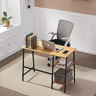 HJhomeheart Bureau d'ordinateur avec étagères, Table d'ordinateur Portable Moderne de Style Industriel, Table d'écriture d...
