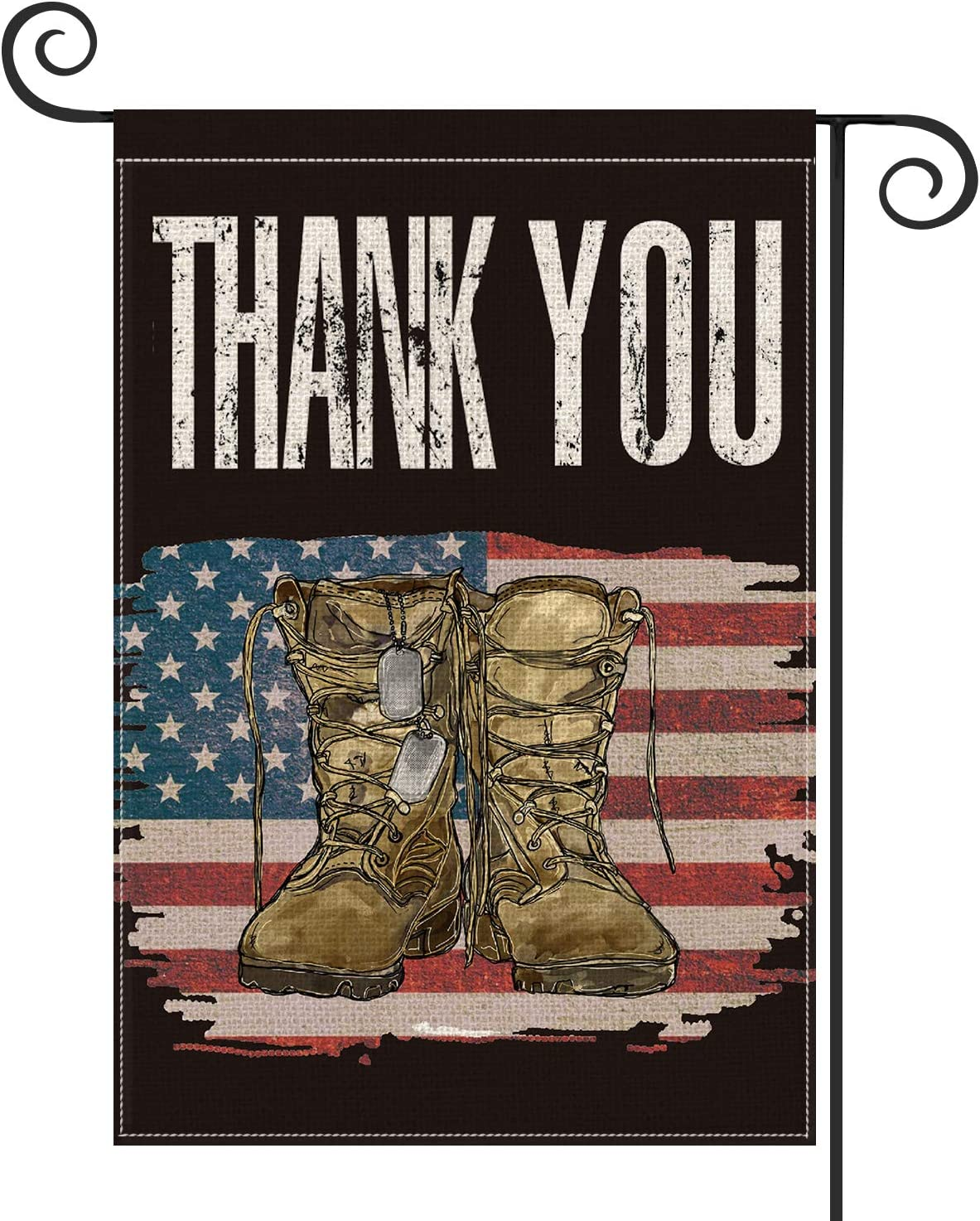 AVOIN Veteran's Day Watercolor American Flag Garden Flag Vertical Double Sided, Army Boots Thank You Yard Outdoor Decoration 12.5 x 18 Inch