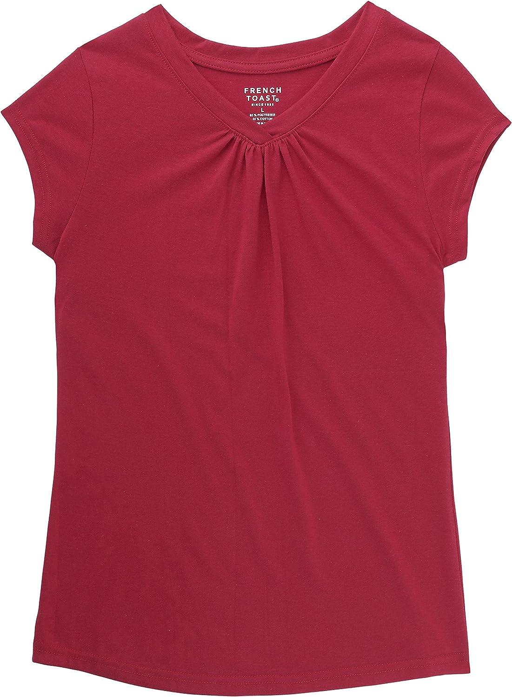 French Toast School Uniform Girls Short Sleeve V-Neck T-Shirt Front Gathers