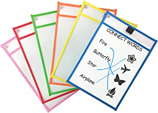 Clipco Dry Erase Pocket Sleeves Assorted Colors (6-Pack)