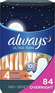 Always Ultra Thin Feminine Pads with Wings for Women, Size 4, 84 Count, Overnight Absorbency, Unscented, (28 count, Pack of 3 - 84 Count Total)