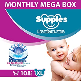 Supples Baby Diaper Pants, Monthly Mega-Box, X-Large, 108 Count
