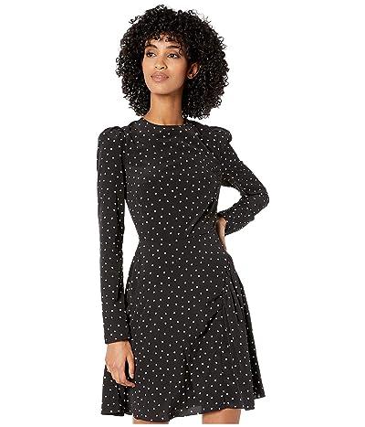 ML Monique Lhuillier Long Sleeve Polka Dotted Dress (Jet White) Women