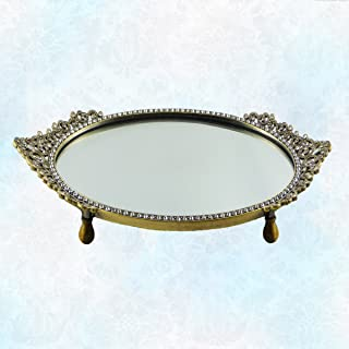 Vintage Gold Tone Vanity Mirror Tray with Oval Beautiful Asian Design Genuine Crystal Embellished Border. Alluring Design