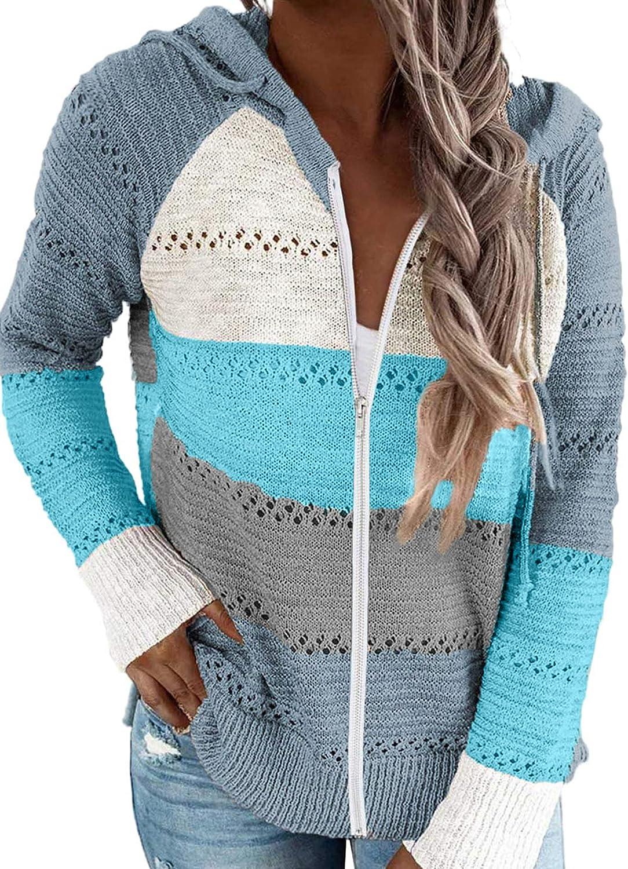 LOLLO VITA Women Color Block Hoodie Drawstring Casual Sweatshirt Zipper Up Jacket for Women S-XXL