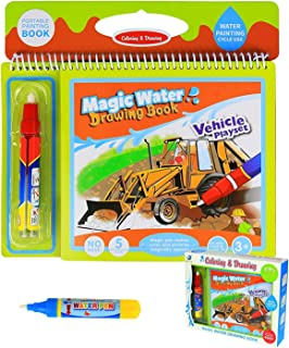 BBLIKE Colouring Doodle Book for Kids Tracing Drawing,Reusable Water Painting Kits and 2 Magic Water Pens