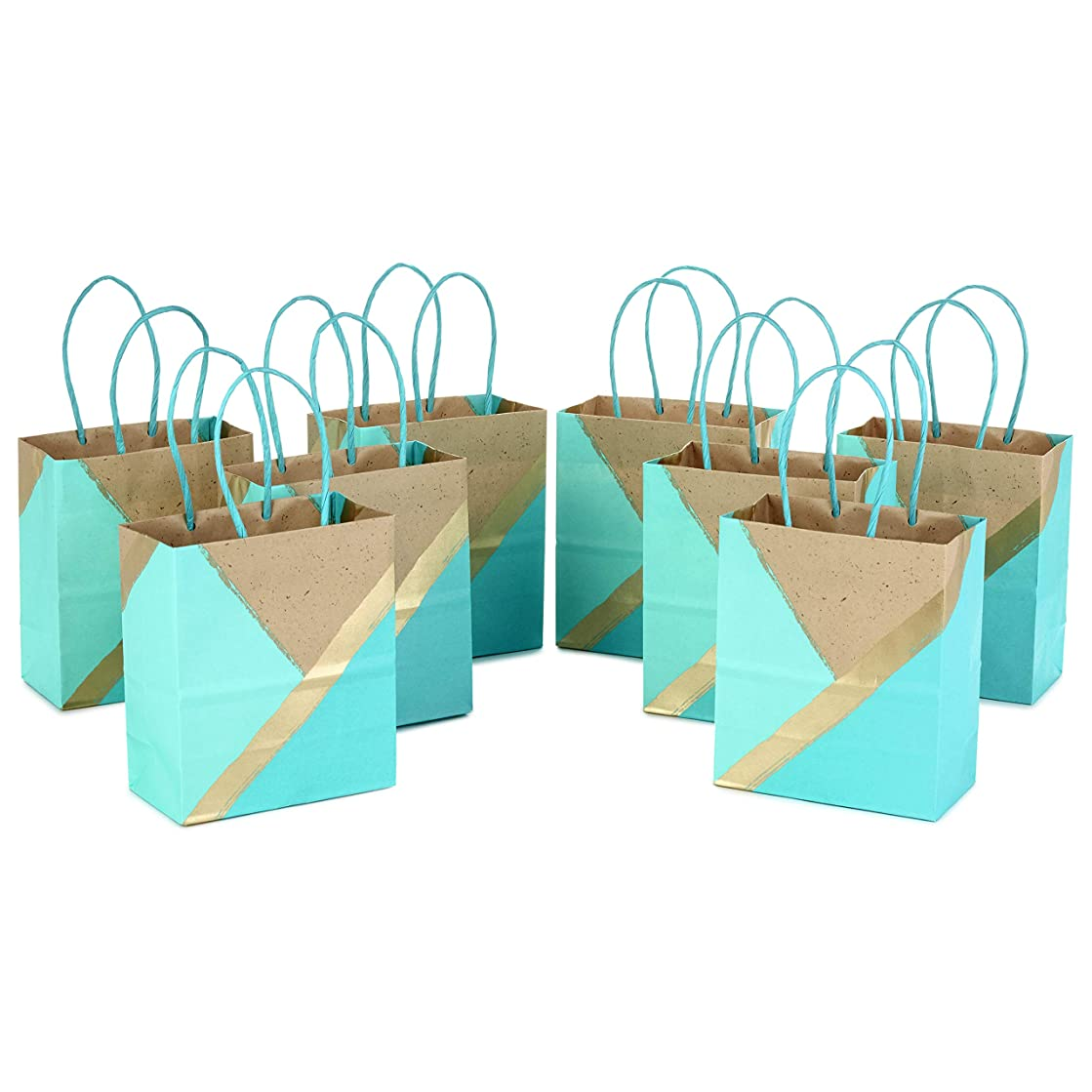Hallmark Small Paper Gift Bags for Birthdays, Weddings, Mother's Day, Baby Showers, Bridal Showers, and More (Turquoise and Mint, Pack of 8)