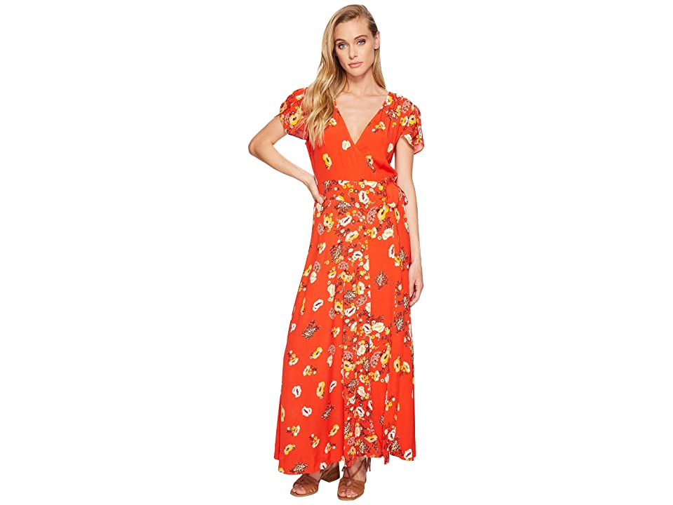 Free People Gorgeous Jess Wrap Dress (Red Combo) Women