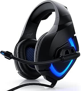 CSL - Auriculares para juegos para PS4 - micrófono auriculares incluidos - mando a distancia por cable tarjeta de sonido externa - micrófono de cuello de cisne plegable