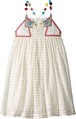 Pear Donkey Embroidered Dress w/ Pom Poms on Straps (Toddler/Little Kids/Big Kids)