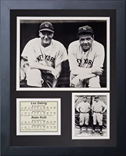 Legends Never Die New York Yankees Lou Gehrig and Babe Ruth - Collage de fotos enmarcado, 28 x 35 cm