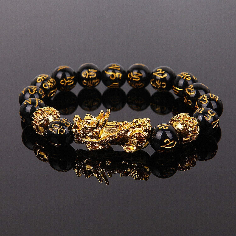 Panpob68 New Feng Shui Black Obsidian Beads Bracelet Attract Wealth & Good Luck Bangle Gift