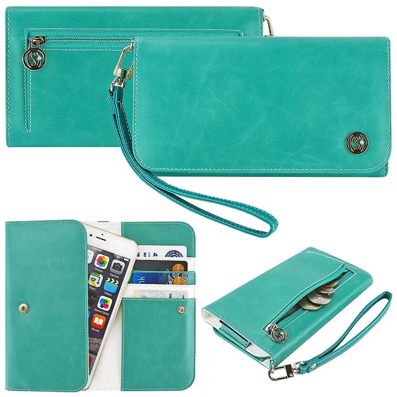 Case+Stand PU Leather Purse/Clutch/Pouch/Wallet Fits Apple HTC LG Motorola ZTE etc. Universal Women's Cute Wristlet Strap Flip Teal/Mint/Turquoise/Light Blue/Green Large Fits The Models Below: