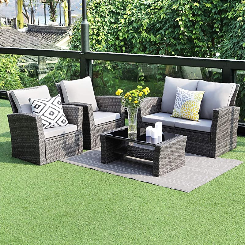 Wisteria Lane 5 Piece Outdoor Patio Furniture Sets Wicker Ratten Sectional Sofa With Seat Cushions Gray