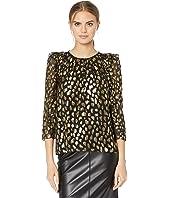 Rebecca Taylor - Long Sleeve Leopard Metallic Top