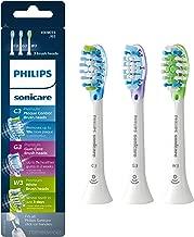 Genuine Philips Sonicare toothbrush head : C3 Premium Plaque Control, G3 Premium Gum Care & W3 Premium White, HX9073/65, 3 pk, White