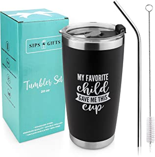 My Favorite Child Gave Me This Funny Coffee Cup (Black)- Best Dad & Mom Gifts - Gag Christmas Present Idea From Daughter, Son, Kids - Novelty Xmas & Birthday Gift For Parents - Fun Cup For Men, Women