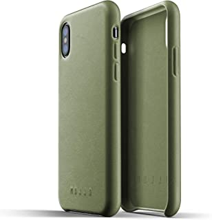 Mujjo Full Leather Case for iPhone X, Olive