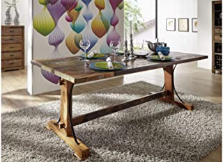 Table à manger 140x90cm - Bois massif recyclé multicolore laqué - Inspiration Ethnique - NATURE OF SPIRIT #09