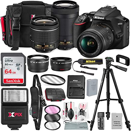 $589 Get Nikon D3500 DSLR Camera with 18-55mm and 70-300mm Lenses + 64GB Card, Tripod, Flash, Battery and Deluxe Bundle