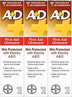 A+D First Aid Ointment - Moisturizing Skin Protectant for Dry Cracked Hands, Elbows, Heals and Lips - Use After Hand Washing – 1.5 oz Tube (Pack of 3)
