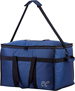 Premium Quality Insulated Food Delivery Bag with Shoulder Strap, Base Insert for Support & Divider for Catering, Grocery, or Doordash; Large Commercial Carrier Transport Bag for Hot Food Tray & Pizza