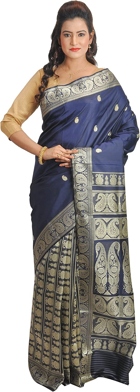 Ruprekha Fashion Women's Pure Silk Handloom Navy bluee Colour Baluchari Saree from Bengal