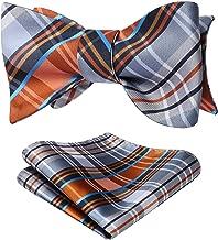 HISDERN Men's Check Plaid Jacquard Self Tie Bow Tie Pocket Square Set Wedding Party