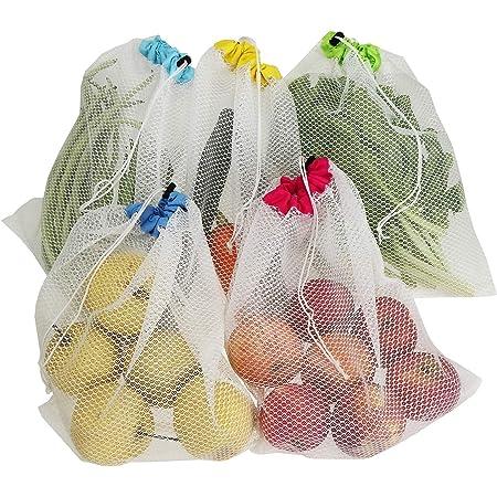 Bolsas de Malla Reutilizables 31x28cm reutilizable Heiqlay Bolsas Fruta Reutilizables ecol/ógico ajo Bolsa Red Malla Colgante ligero para almacenamiento de jengibre lavable 9 piezas