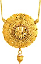 bodha 24K Traditional Indian Temple Jewelry Gold Pendant Necklace for Women (SJ_2297)
