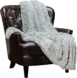 Chanasya Shaggy Longfur Faux Fur Throw Blanket - Fuzzy Lightweight Plush Sherpa Fleece Microfiber Blanket - for Couch Bed Chair Photo Props (50x65 Inches) Silver Iceflow