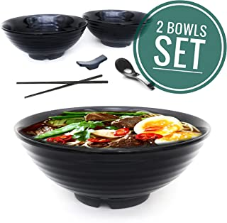 Vallenwood 2 Sets (8 Piece) Ramen Bowl Set, Asian Japanese Soup With Spoons Chopsticks and Stands, Restaurant Quality Melamine, Large 32 Ounce for Noodles, Pho, Noodle, Udon, Thai, Chinese Dinnerware